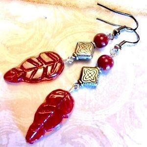 Fall Dark Red Pressed Glass Leaf Ceramic Earrings